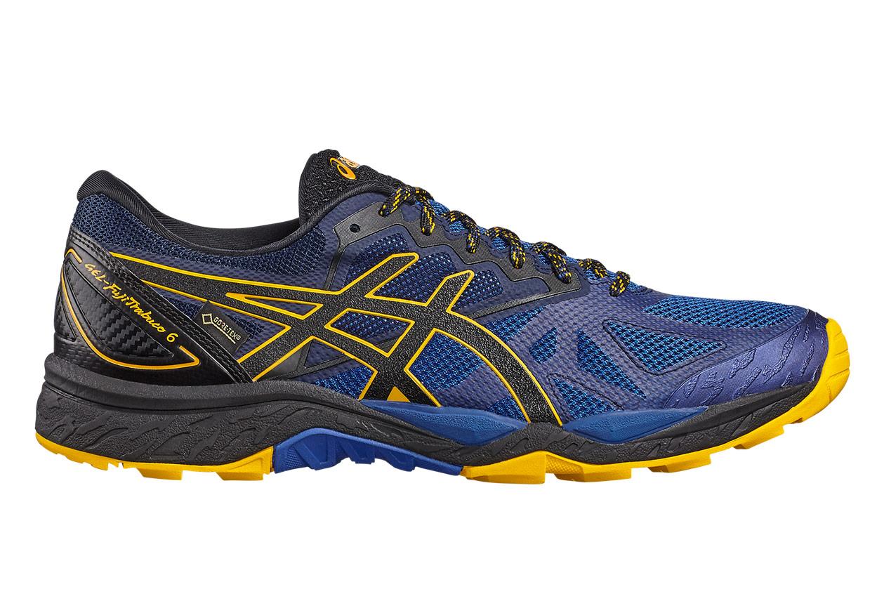 chaussures de trail asics gel fujitrabuco 6 gtx noir bleu. Black Bedroom Furniture Sets. Home Design Ideas