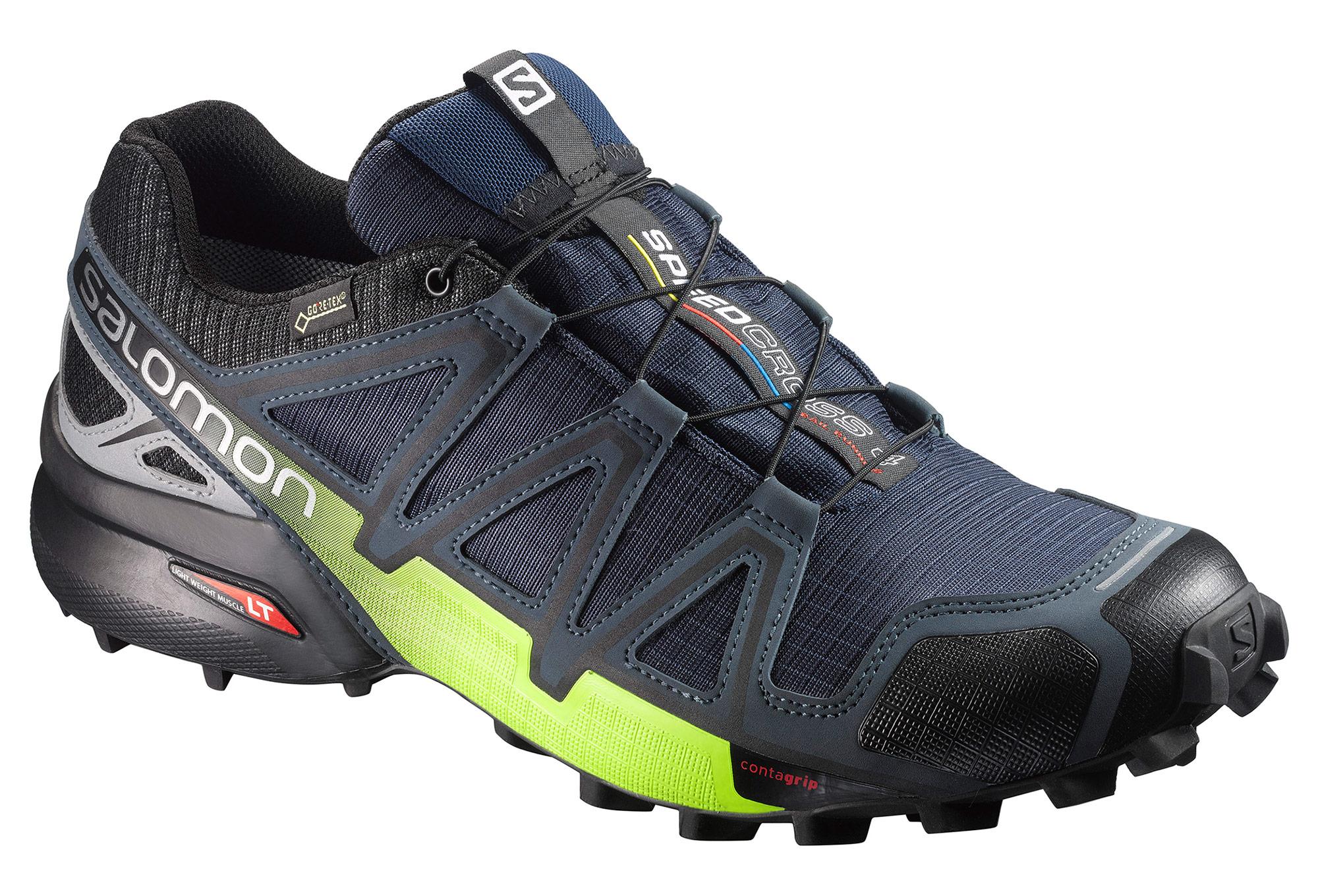 chaussures de trail salomon speedcross 4 nocturne gtx bleu jaune fluo. Black Bedroom Furniture Sets. Home Design Ideas