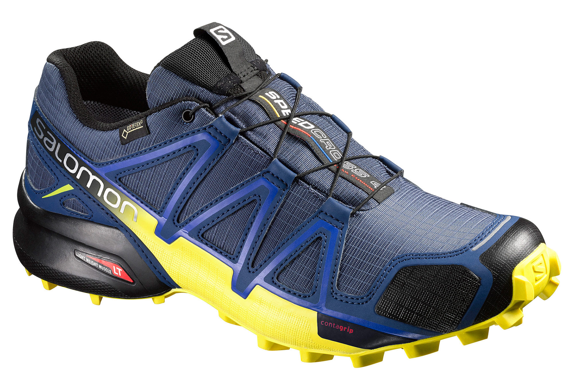 chaussures de trail salomon speedcross 4 gtx bleu jaune. Black Bedroom Furniture Sets. Home Design Ideas