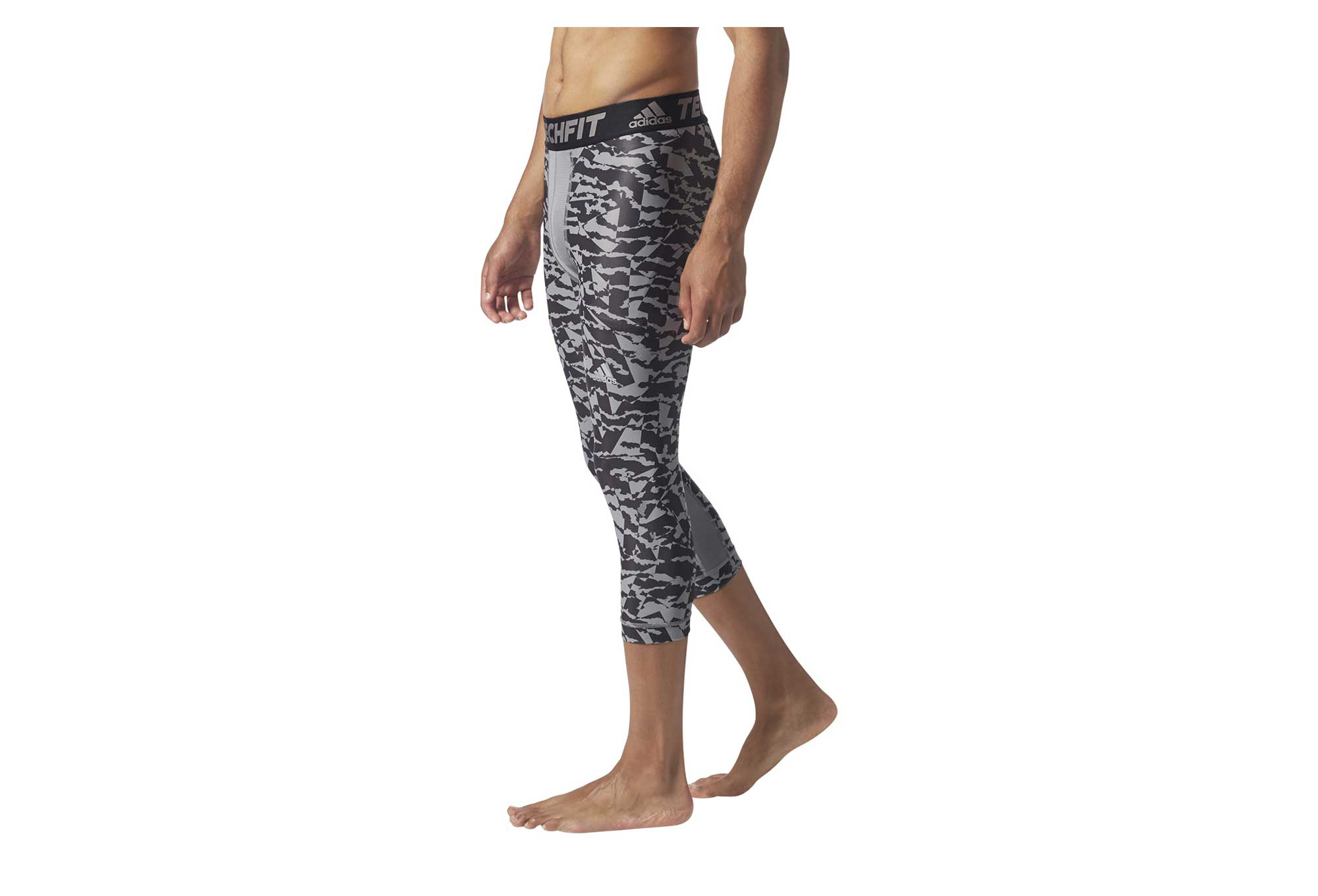 Collant 34 adidas running Techfit Chill Print Gris