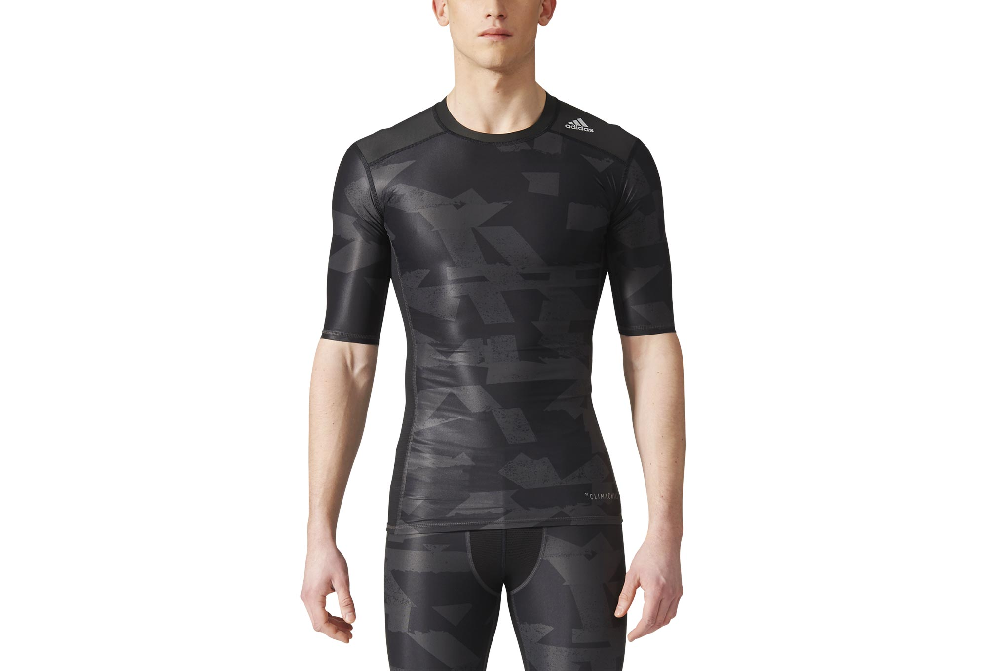 2b3557972211 adidas running Techfit Chill Print Short Sleeve Jersey Black Grey ...