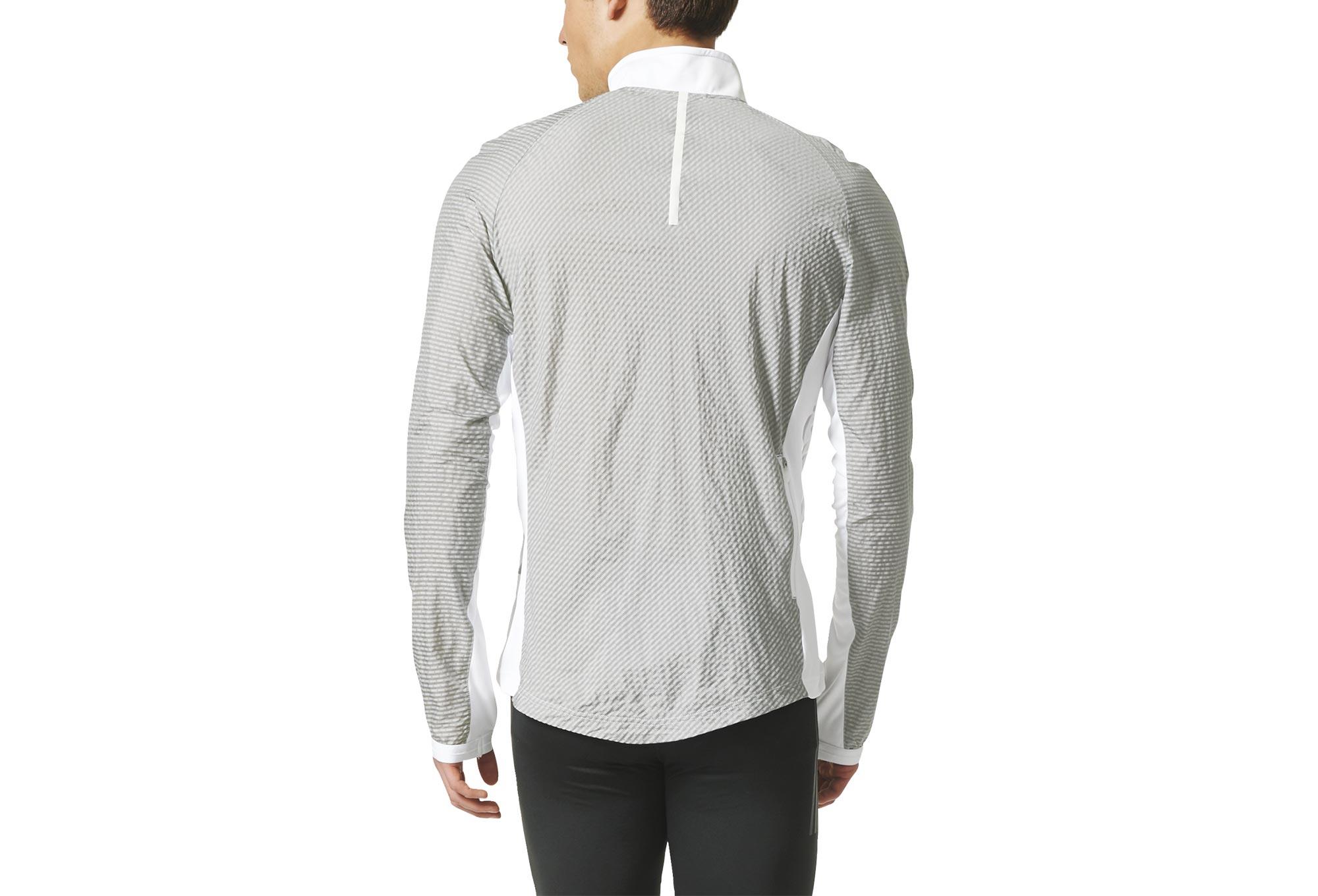 Veste coupe vent d perlant adidas running adizero blanc gris - Veste coupe vent adidas femme ...
