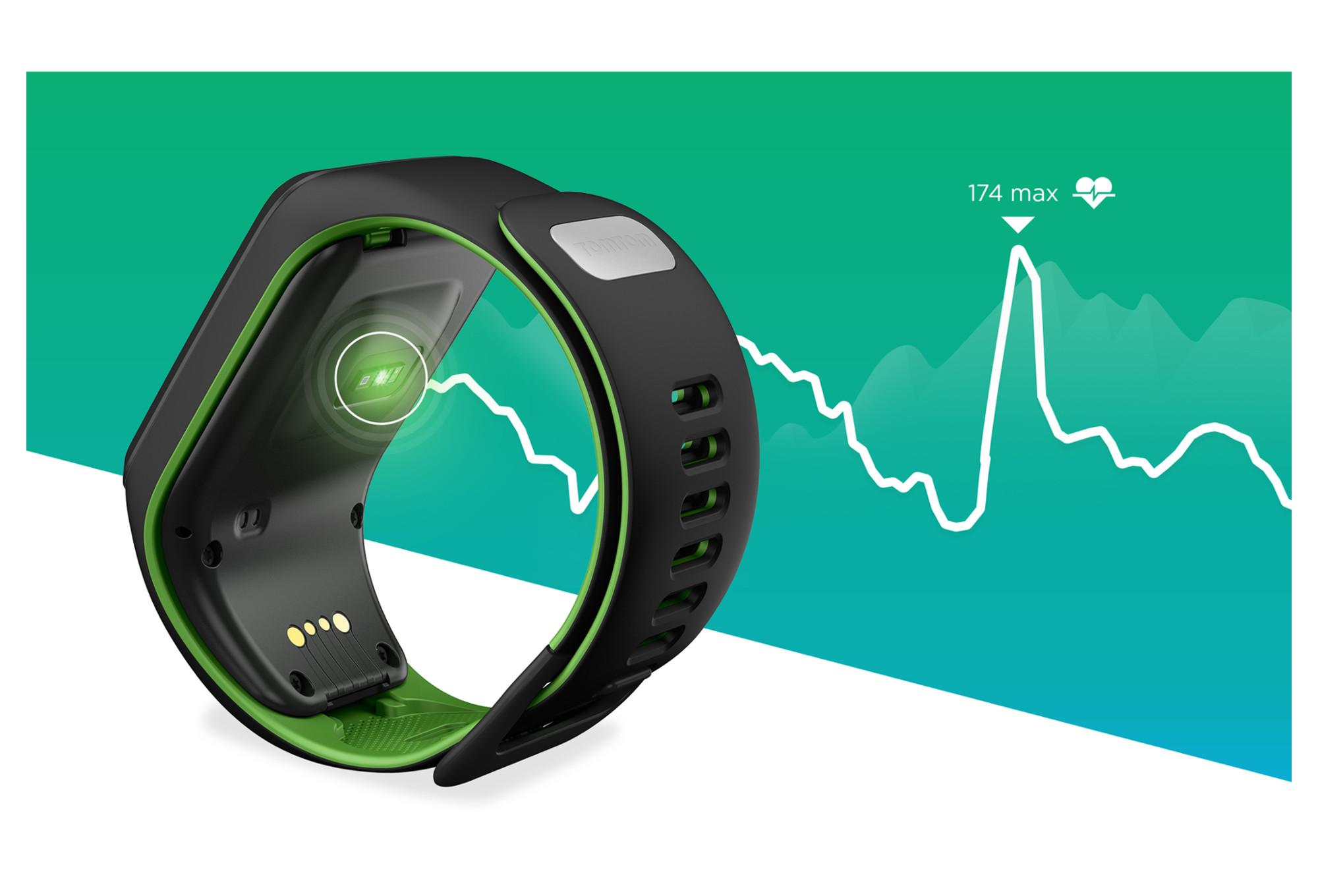 montre gps tomtom runner 3 cardio bracelet fin noir vert. Black Bedroom Furniture Sets. Home Design Ideas