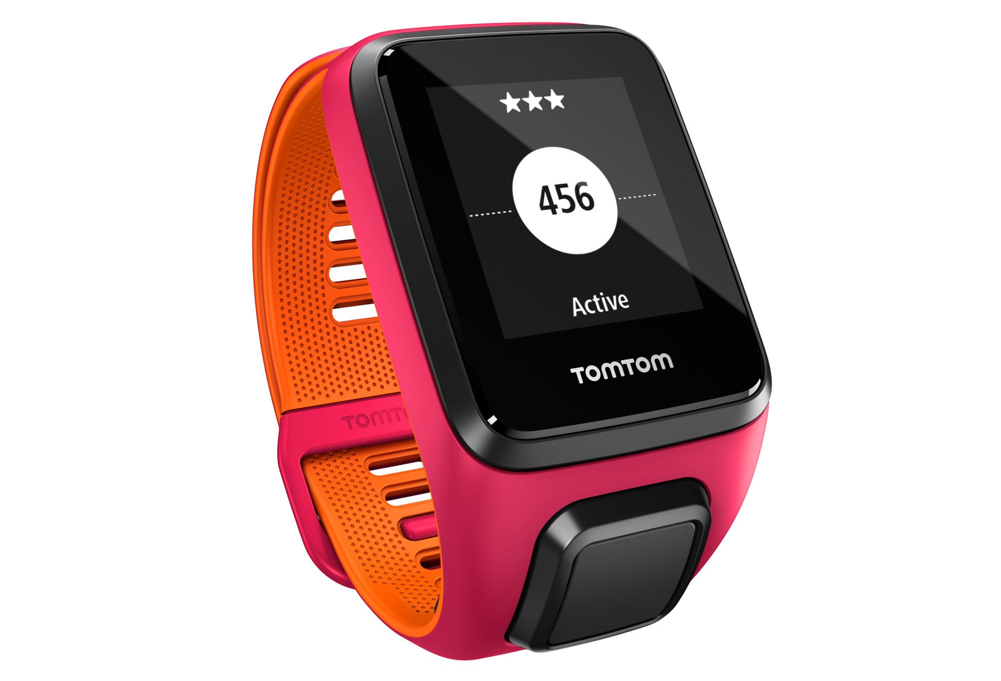 montre gps tomtom runner 3 cardio music bracelet fin rose orange. Black Bedroom Furniture Sets. Home Design Ideas