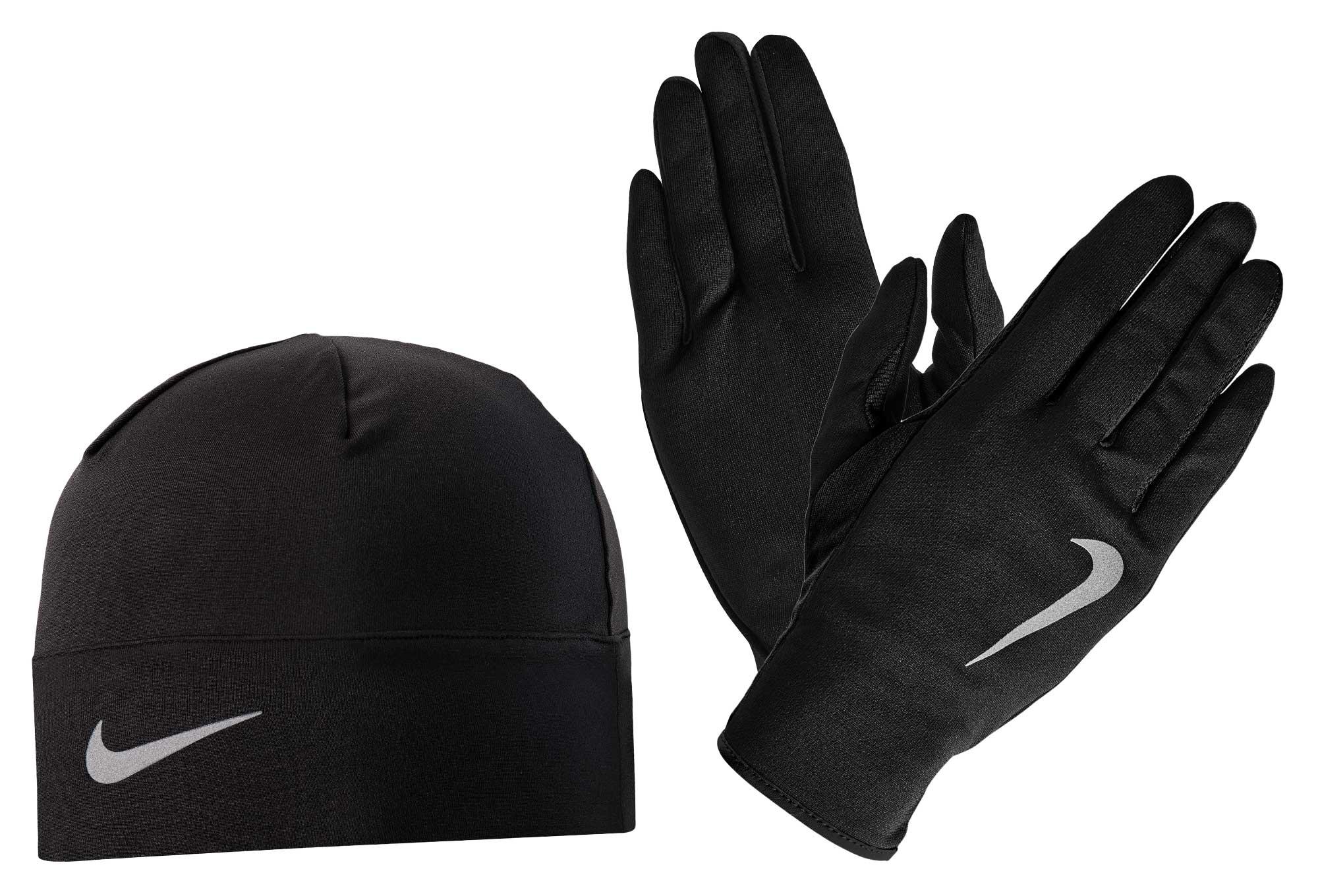 pack gants bonnet nike run dry noir. Black Bedroom Furniture Sets. Home Design Ideas