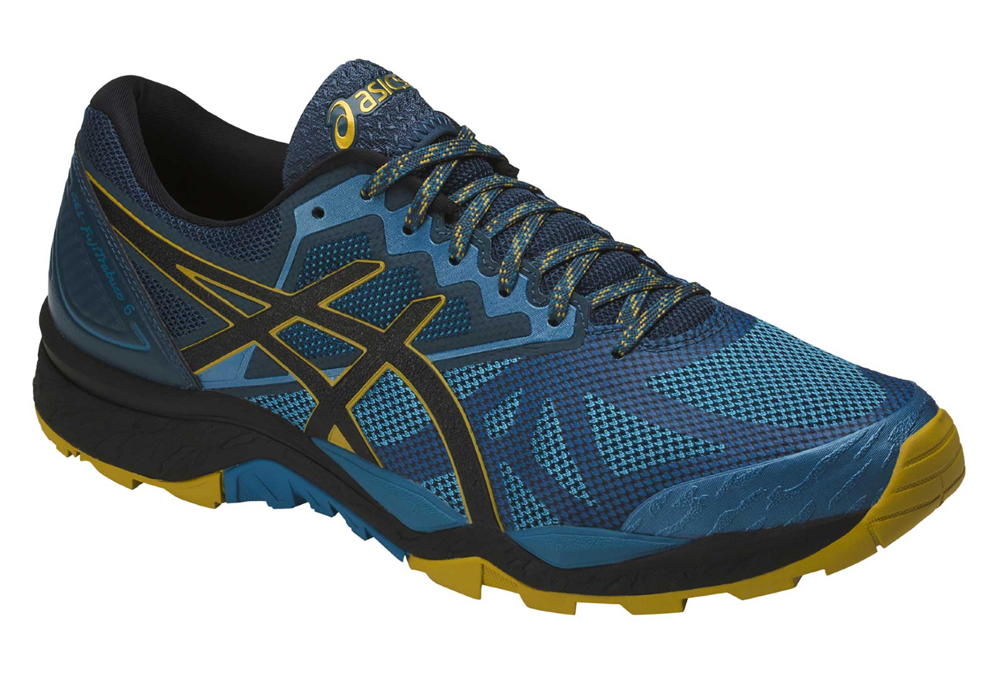 chaussures de trail asics gel fujitrabuco 6 bleu jaune. Black Bedroom Furniture Sets. Home Design Ideas