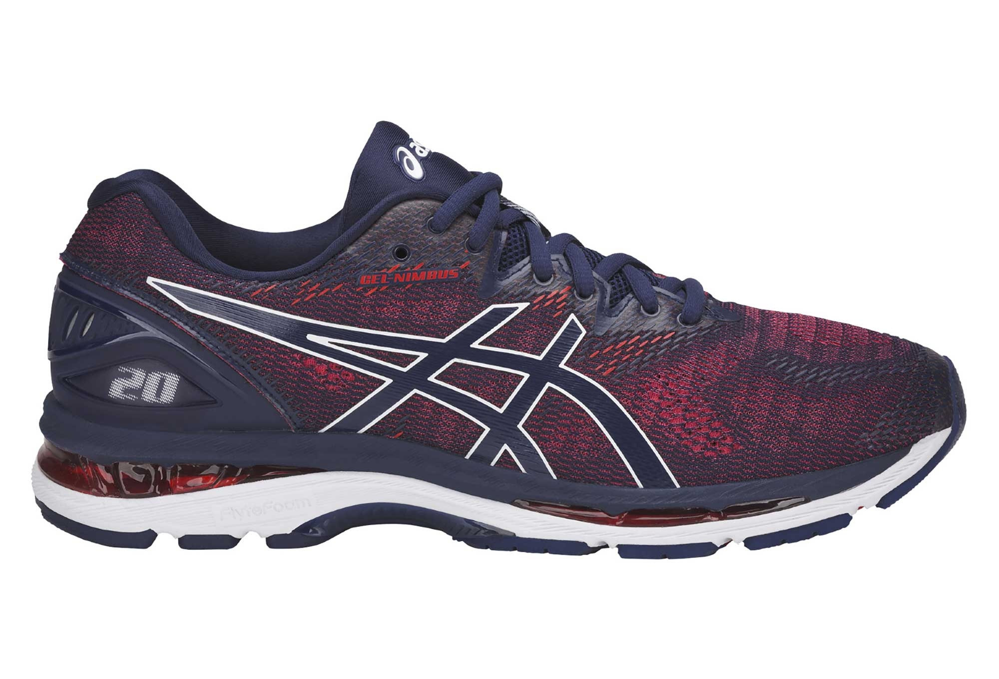 chaussures de running asics gel nimbus 20 bleu rouge. Black Bedroom Furniture Sets. Home Design Ideas