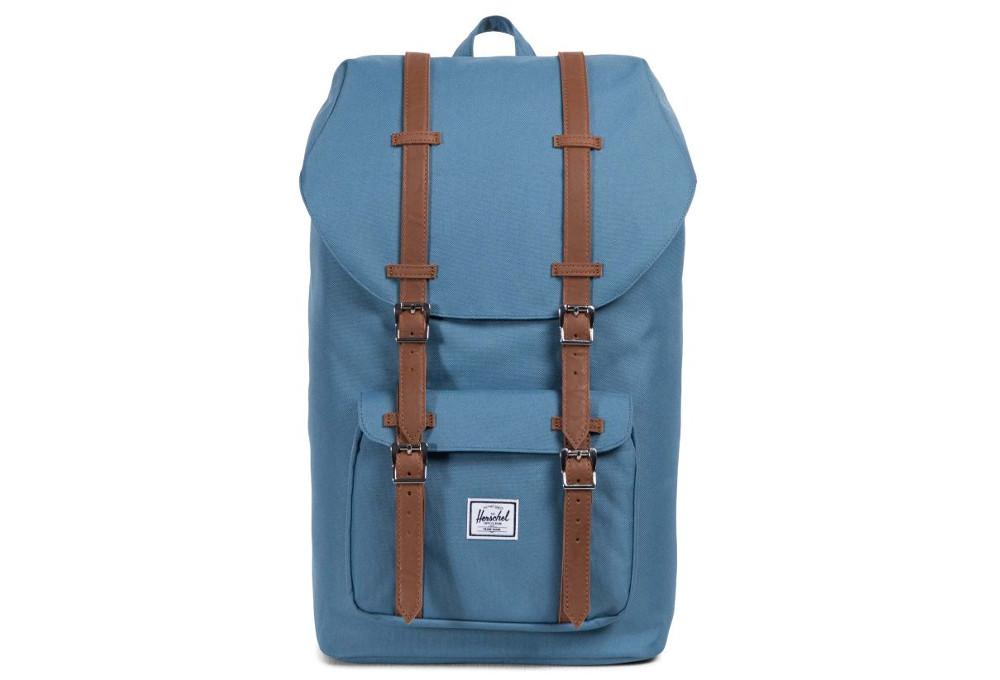 142fb7c9442a HERSCHEL Little America 25L Aegean Blue Tan Synthetic Leather ...