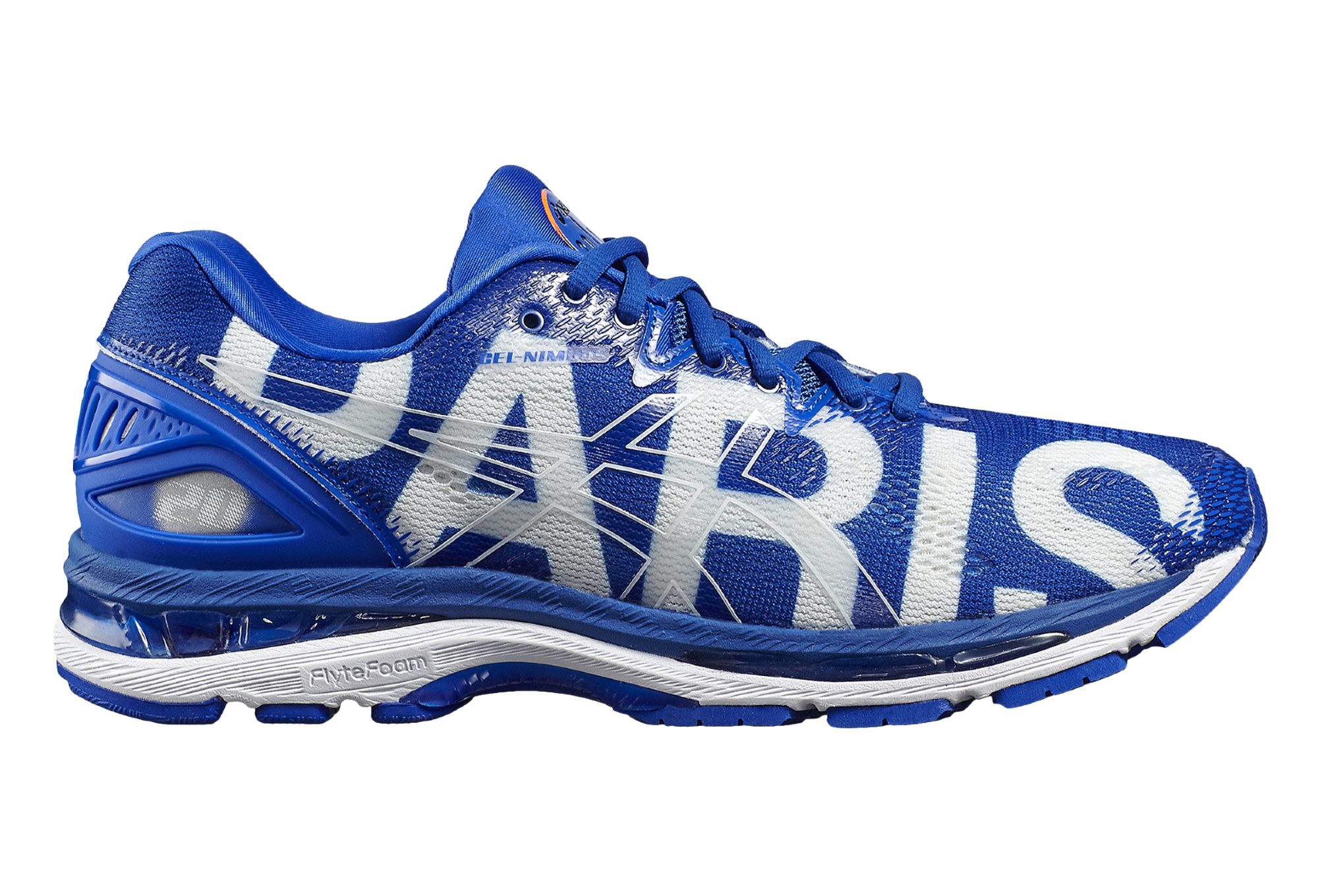 chaussures de running asics gel nimbus 20 paris marathon blanc bleu. Black Bedroom Furniture Sets. Home Design Ideas
