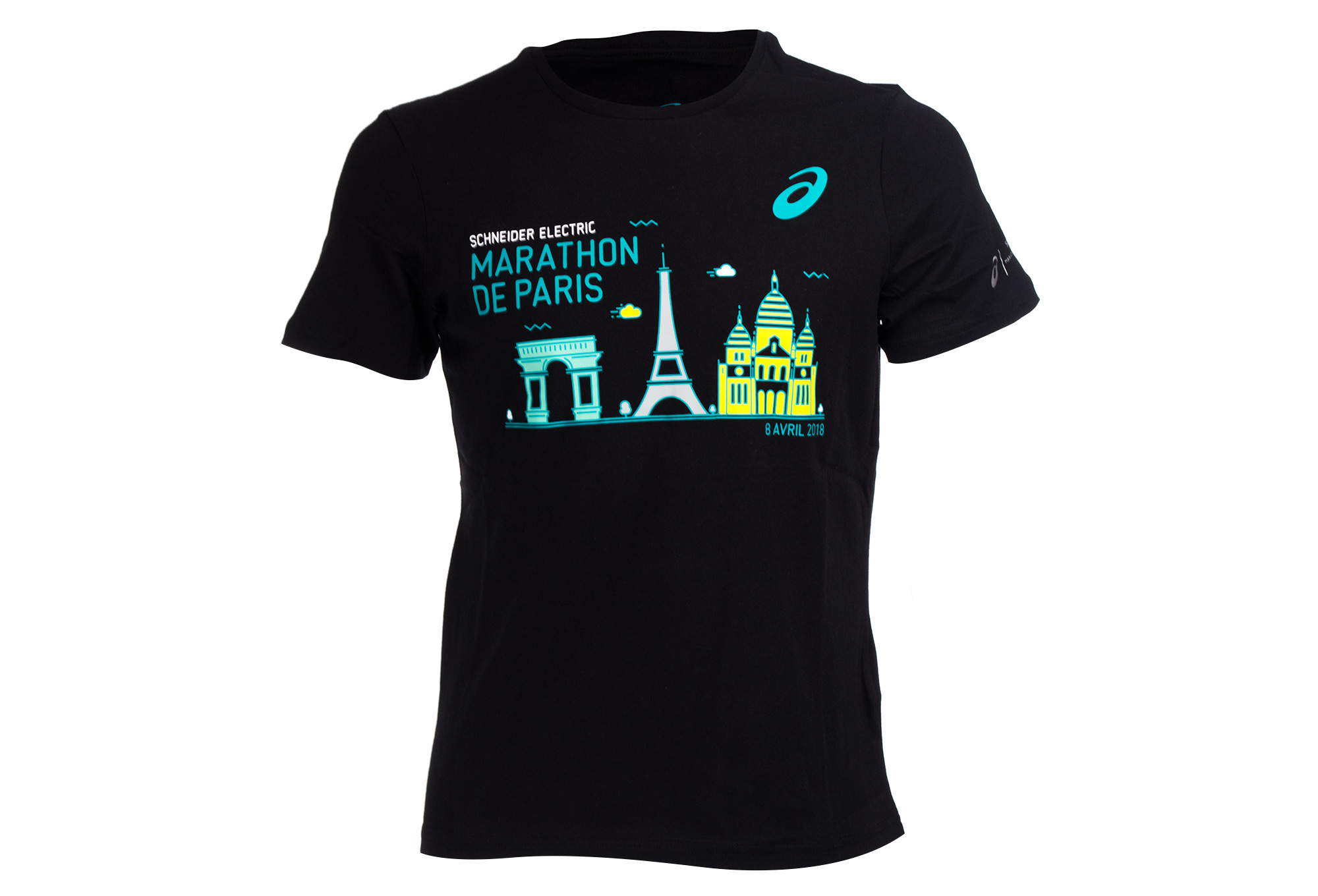 asics schneider marathon de paris 2018 t shirt performance black. Black Bedroom Furniture Sets. Home Design Ideas