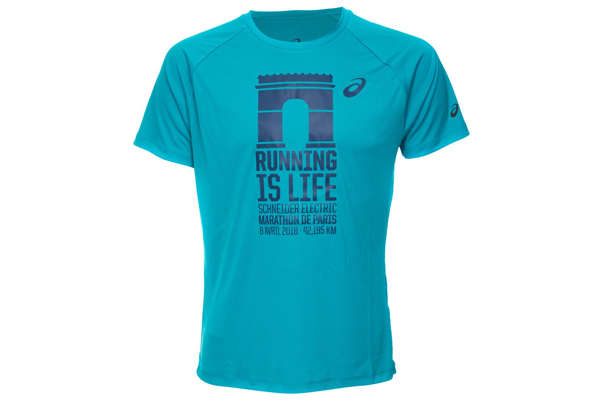 T Shirt Technique ASICS Marathon Paris Bleu