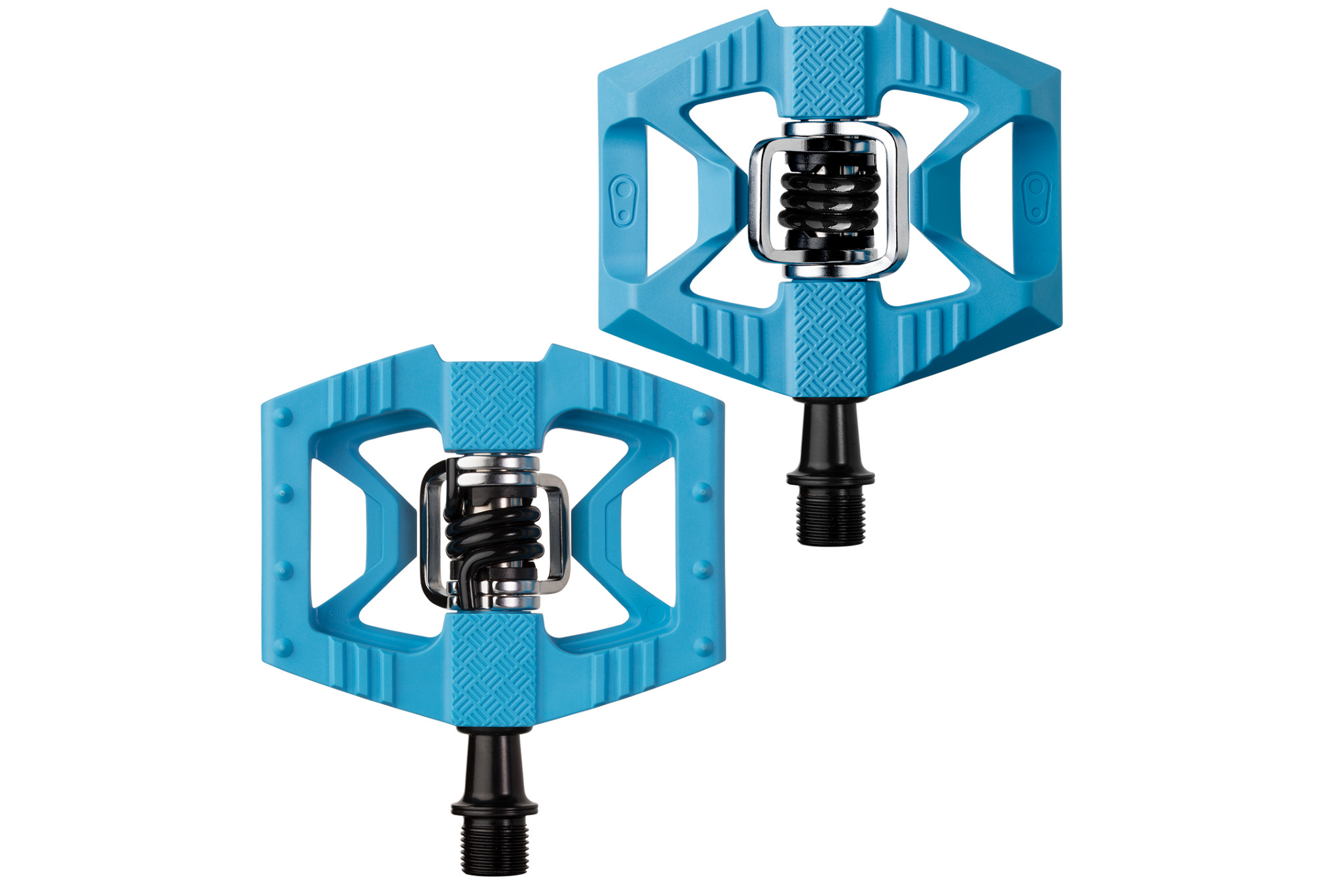 Black Crank Brothers Double Shot Bike Pedals NEW Blue Spring