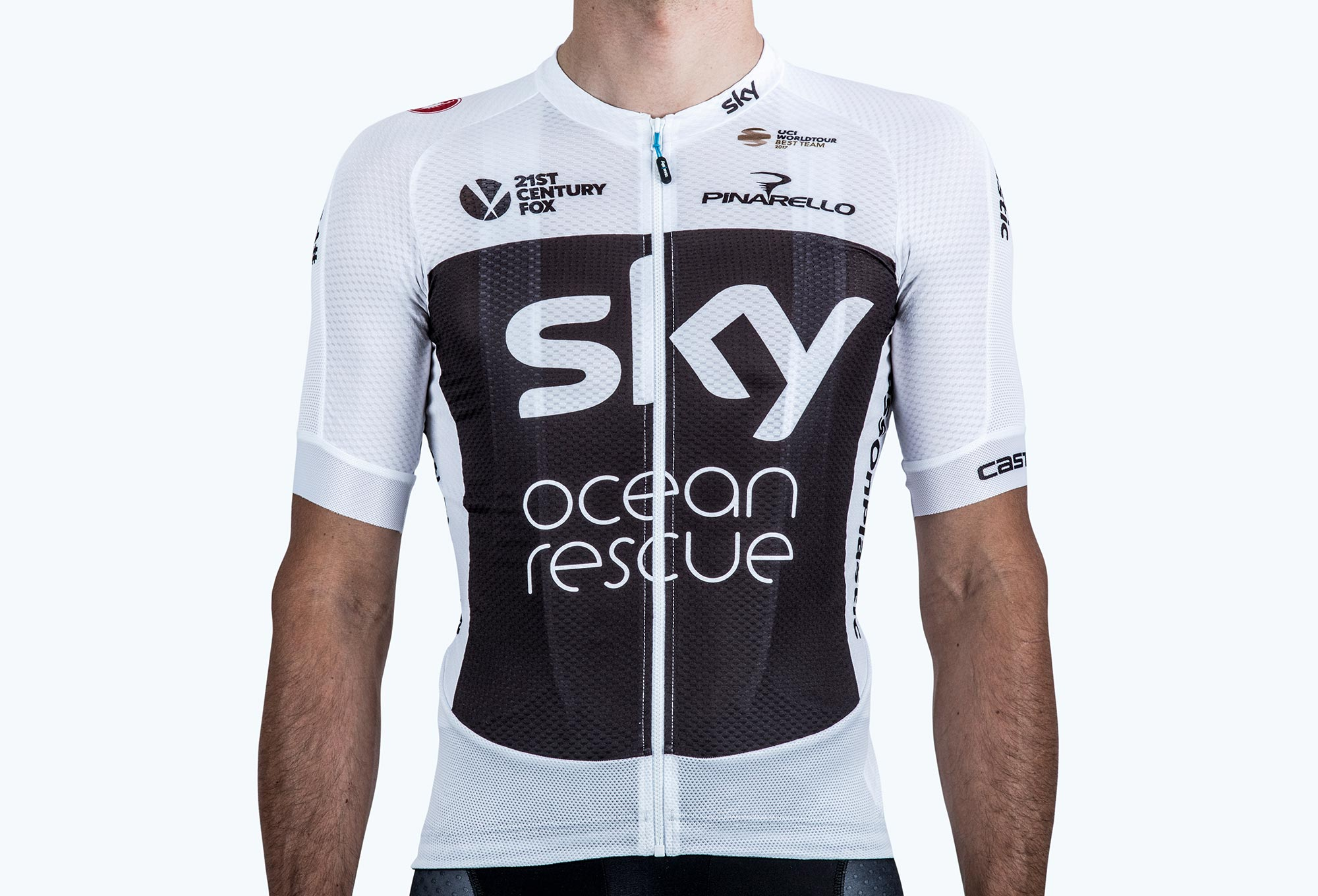 55fe406ac Castelli Team Sky 2018 TDF Podio Short Sleeves Jersey White Black ...