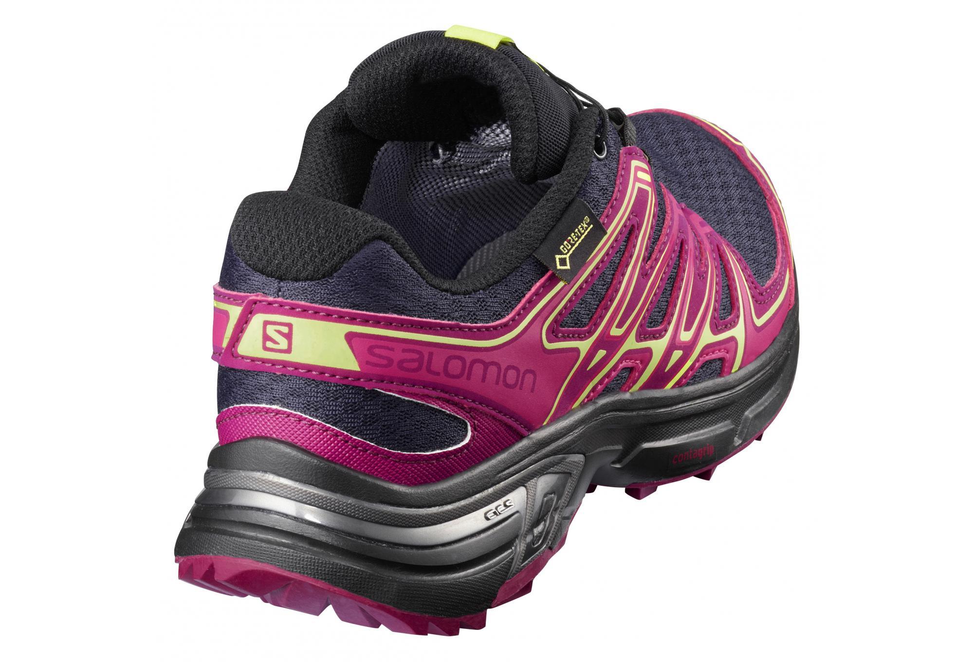 Salomon Femme Wings Flyte 2 GTX Chaussures de Course /à Pied et Trail Running Evening Blue//Beet Red//Sunny Lime Bleu