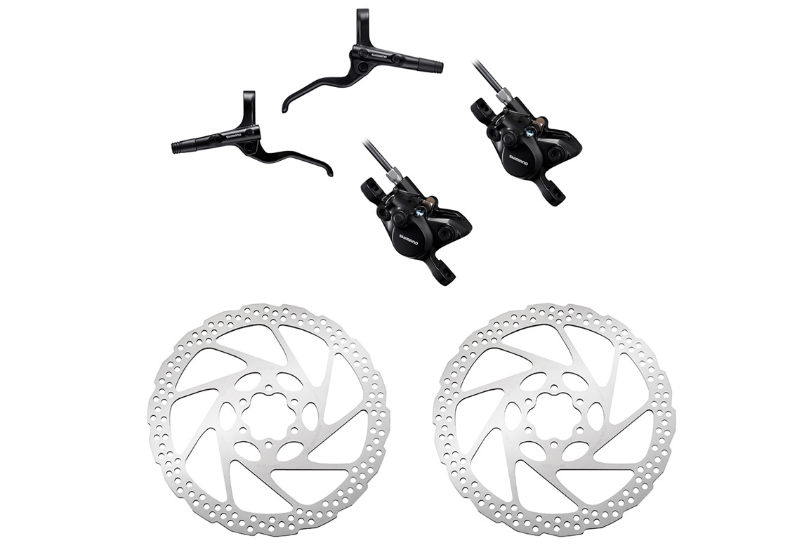 Pair of Brake Shimano Altus MT201 BR-MT200 1000mm 1700mm Black with Shimano  Deore SM-RT56 6-Bolt Rotor Silver 160 mm