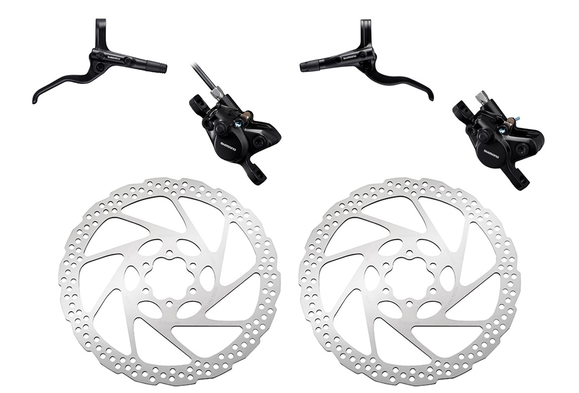 120f6184a34 Pair of Brake Shimano Acera BR-MT400 1000mm 1700mm Black with Shimano Deore  SM-RT56 6-Bolt Rotor Silver 160 mm | Alltricks.fr