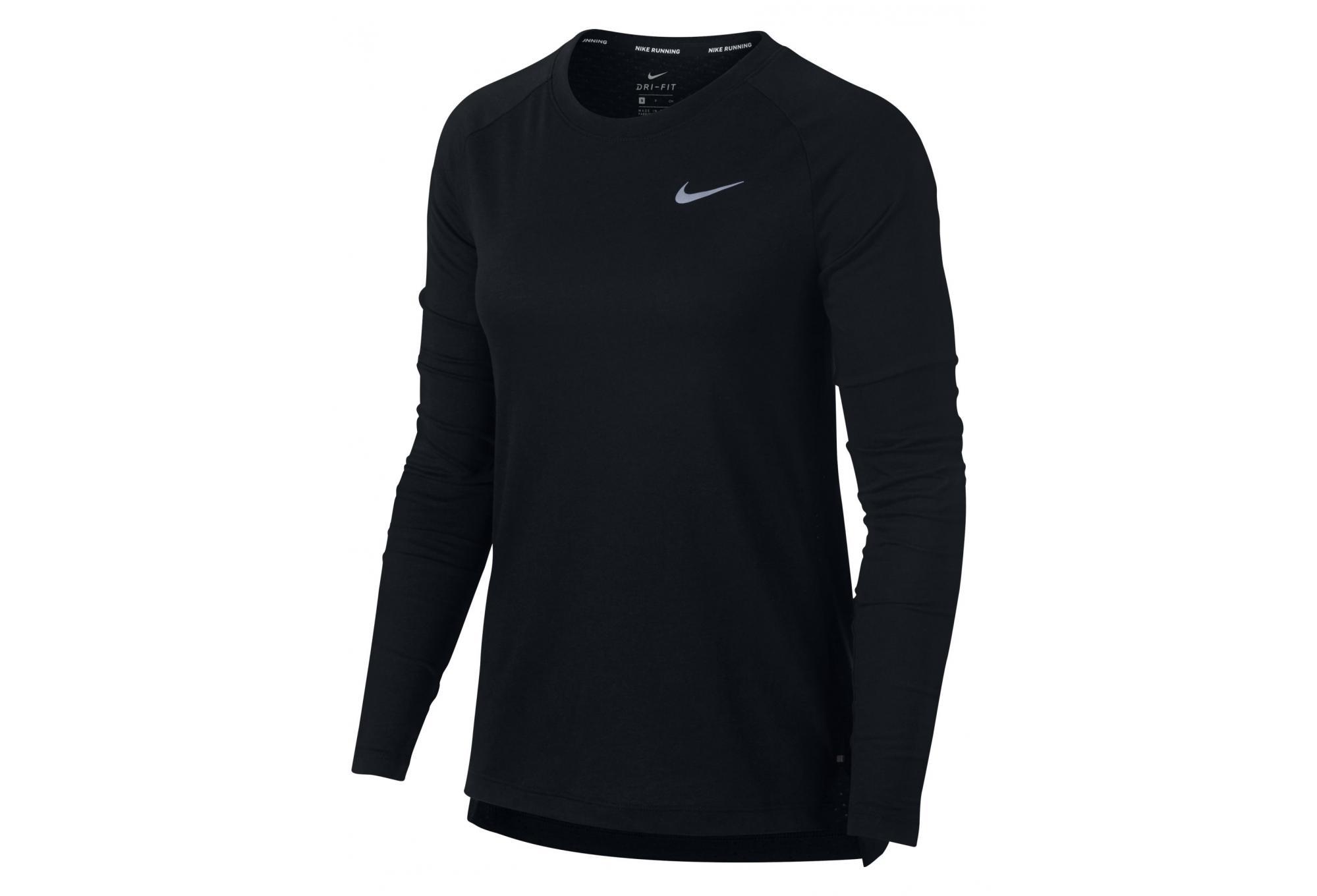 01eed8e02f3b93 Nike Tailwind Women's Long Sleeves Jersey Black | Alltricks.com