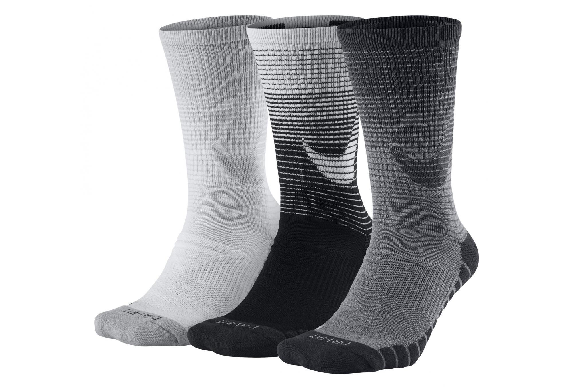501d8743748b Nike Socks Dry Cushion Crew (3 Pair) Black White Grey Unisex ...
