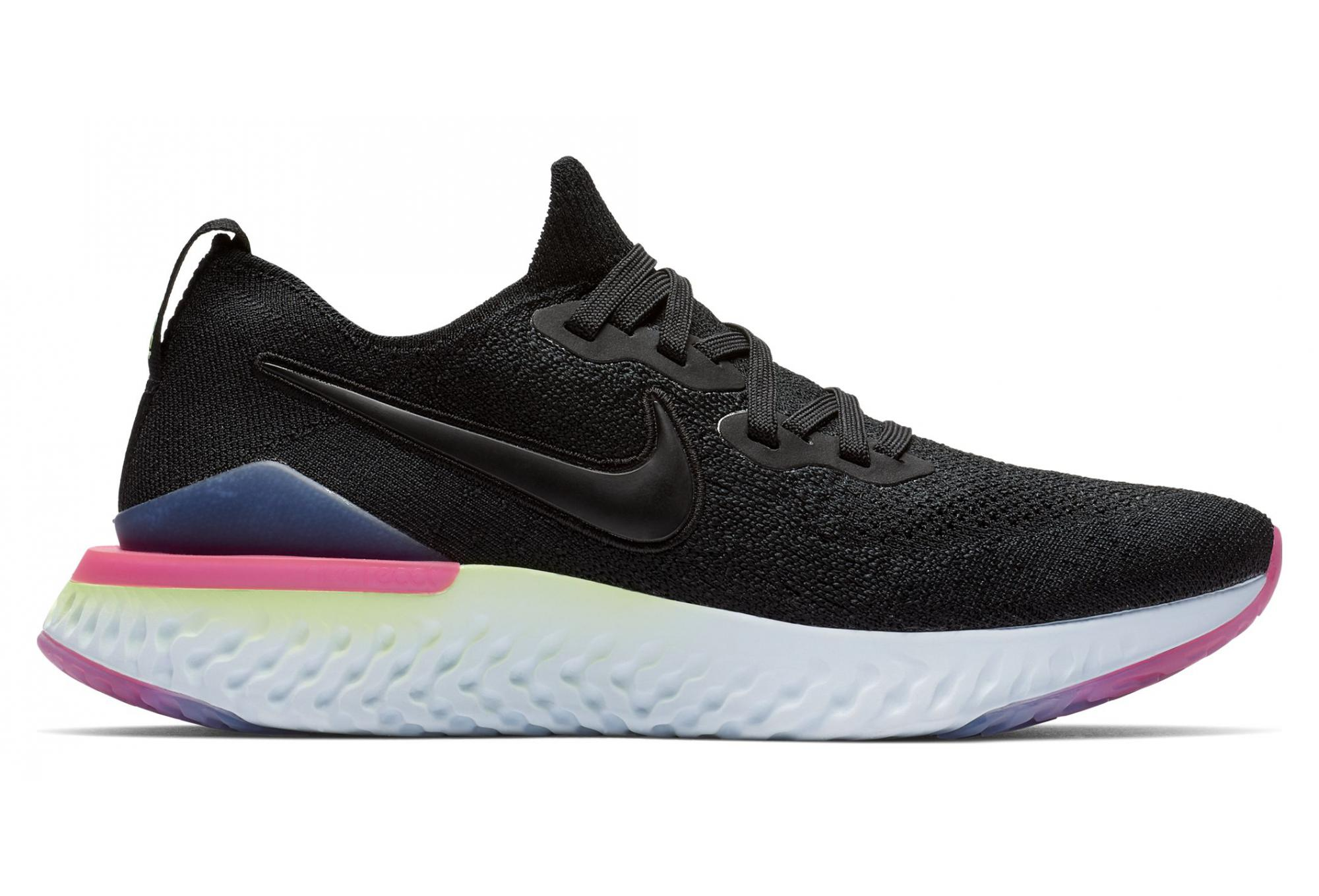 nike running epic react flyknit trainers in blue and pink