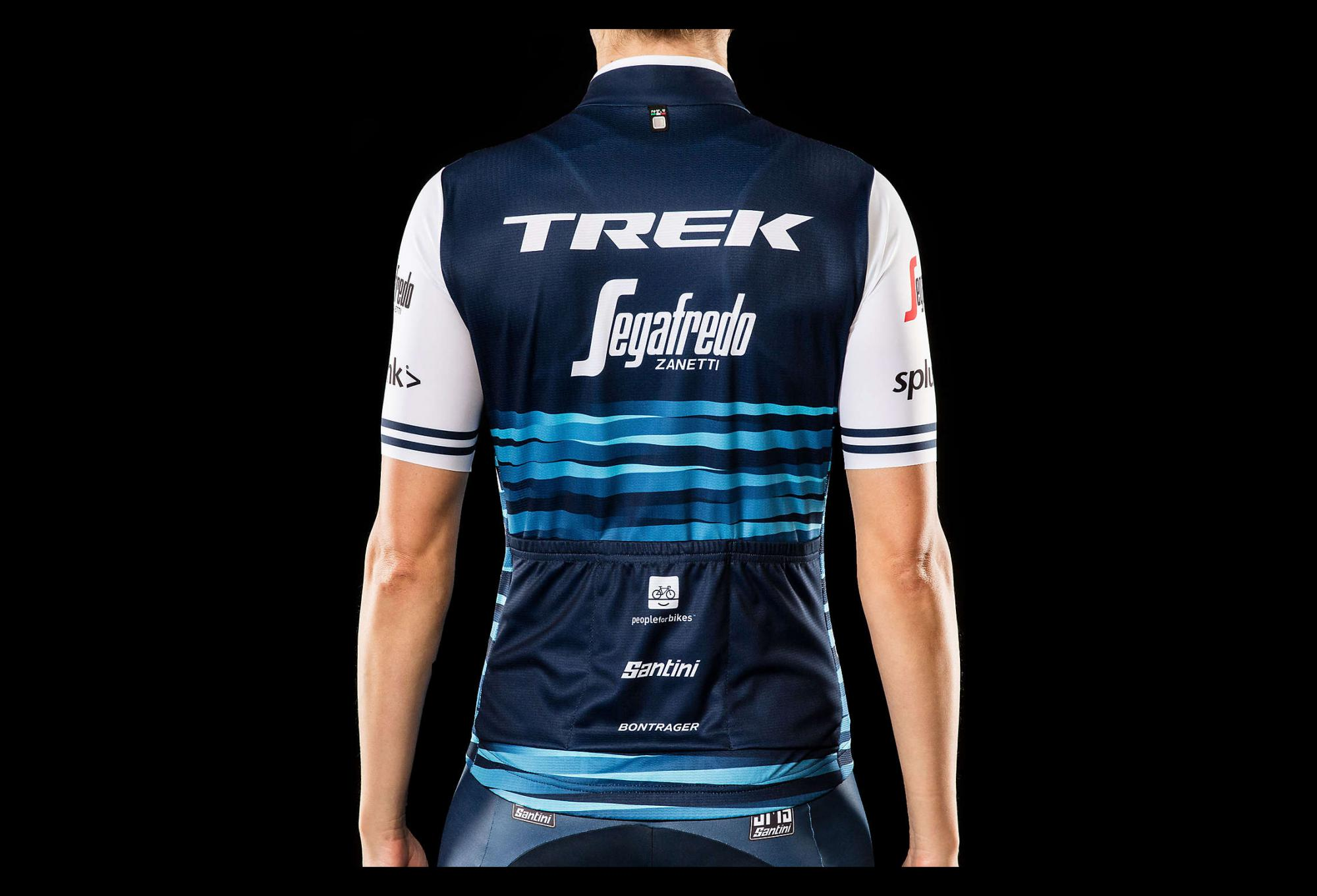 97355b20a Short Sleeves Jersey Women Trek by Santini Team Trek-Segafredo Replica  Blue White 2019
