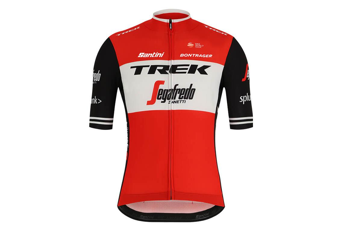 Short Sleeves Jersey Trek by Santini Team Trek-Segafredo Replica Red Black  2019  b8a97e69a
