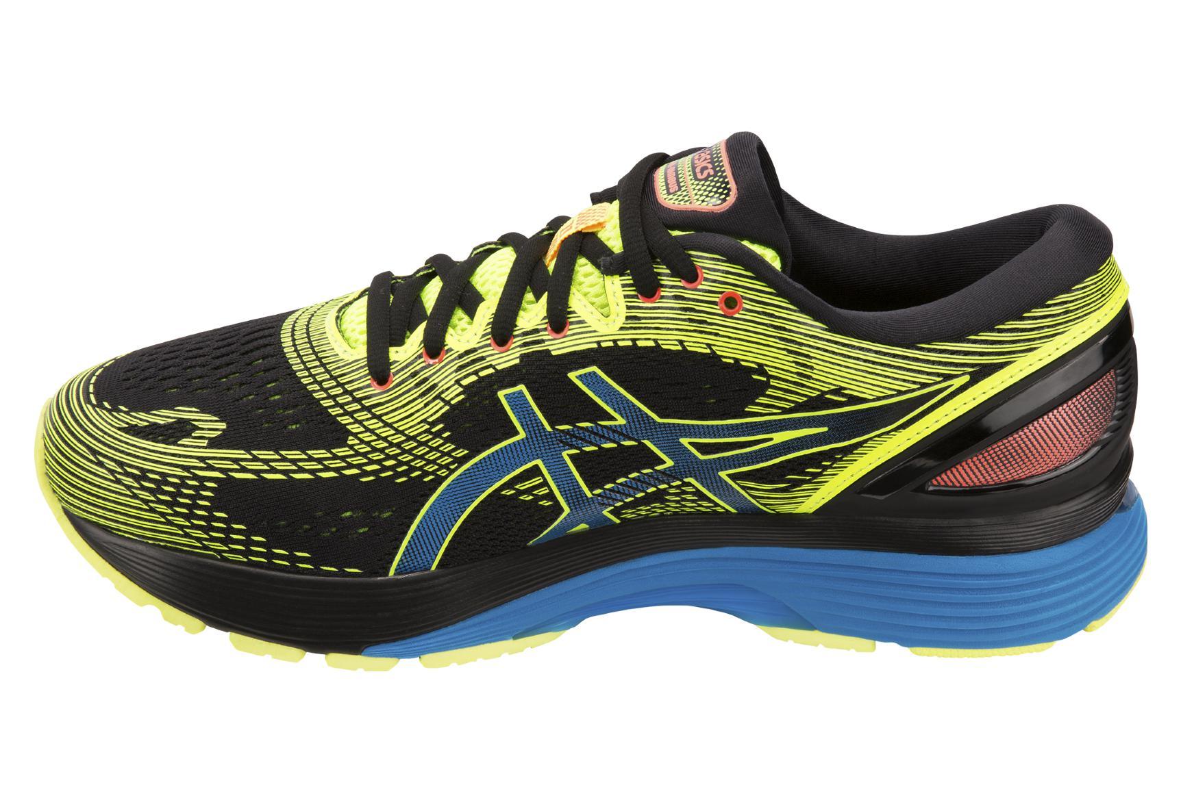 Asics Shoes Run Gel Nimbus 21 OPTIMISM Black Yellow Blue