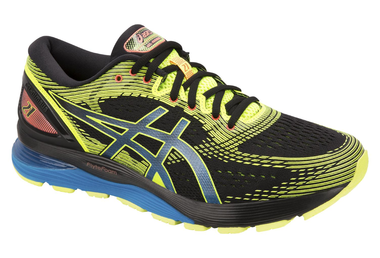 5d8b6347c6 Asics Shoes Run Gel Nimbus 21 OPTIMISM Black Yellow Blue
