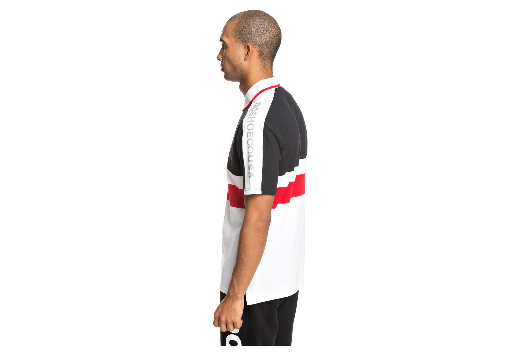 Polo Manches Courtes DC Shoes Walkley Racing Red Blanc Rouge Bleu