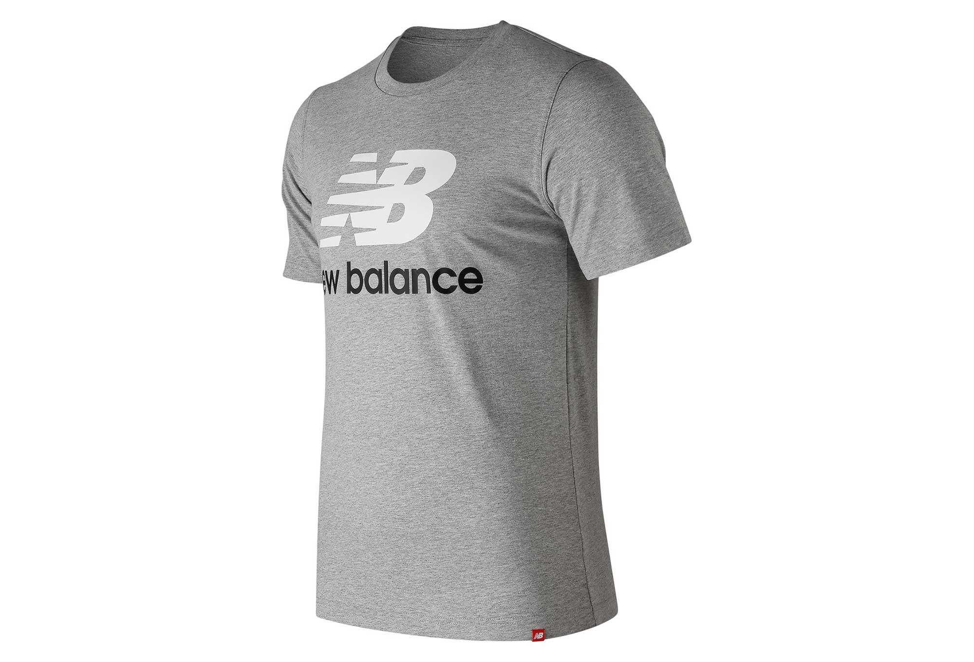 40d40f91 New Balance Short Sleeves Tee Shirt NB Essentials Logo Grey Men    Alltricks.com