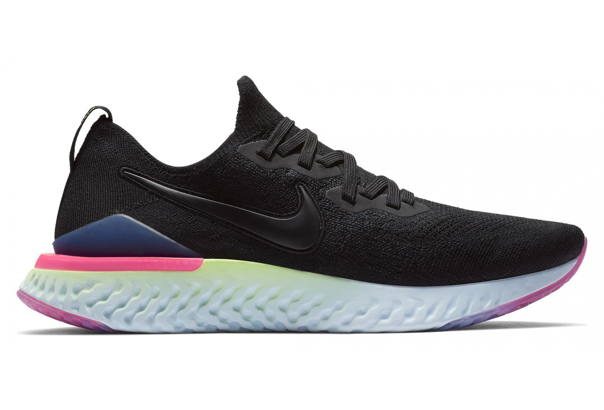 Nike Epic React Flyknit 2 Black Pink Yellow Men aa4c94438