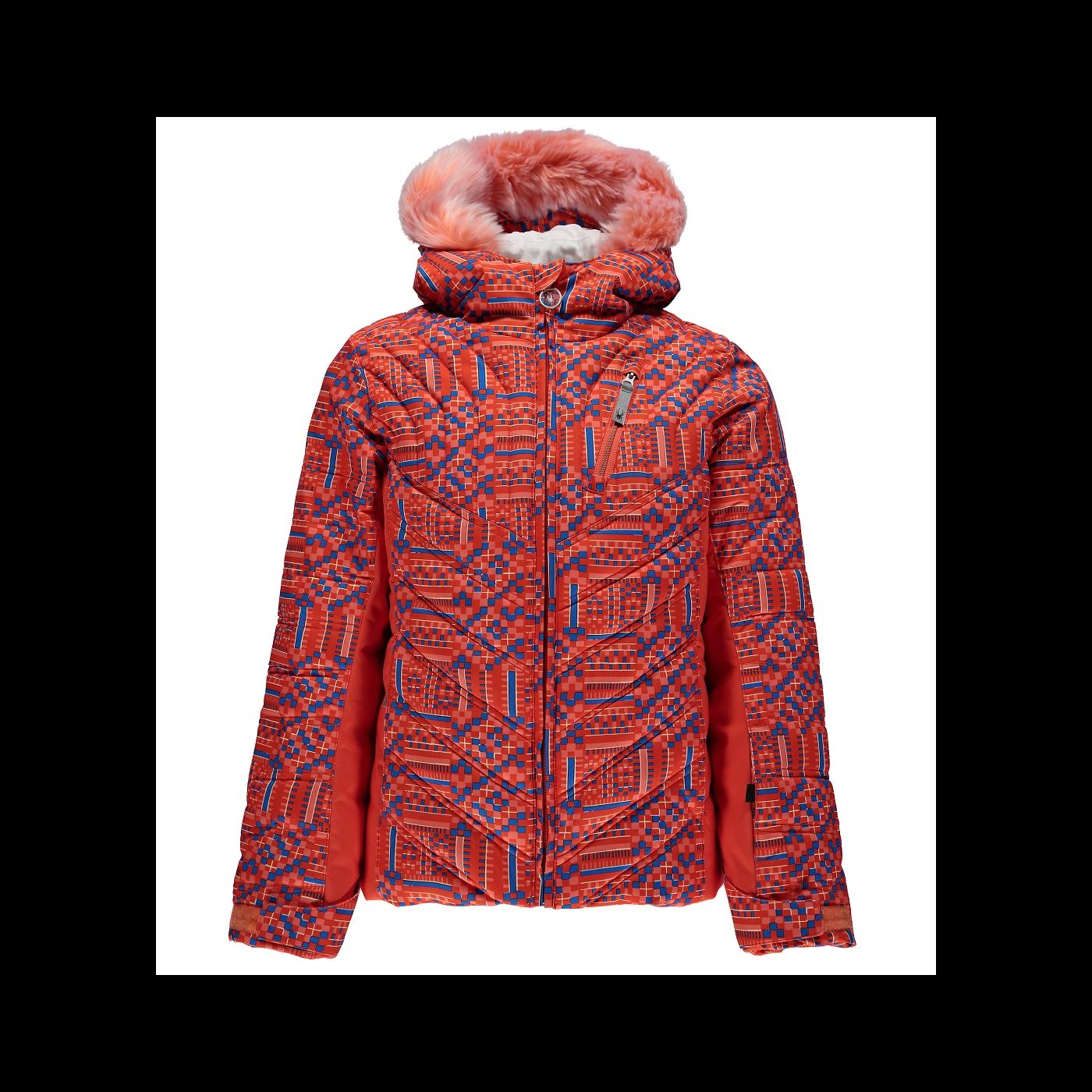 d9f1c67f0be3 Veste De Ski Junior Spyder Girls  Hottie Faux Fur Coral Geo Print ...