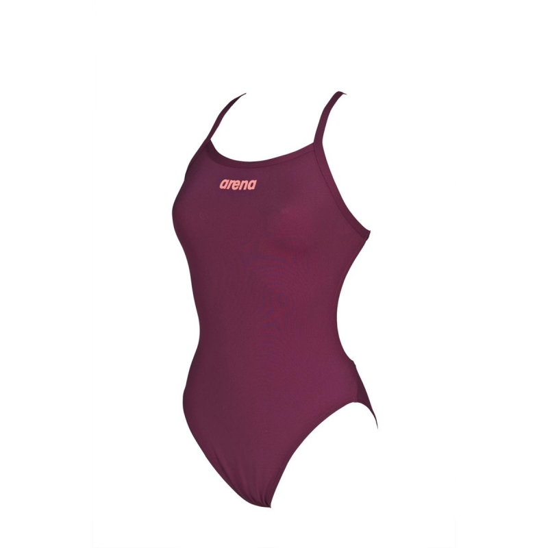 dcf25c8e8 Arena SOLID Light Tech High Red Wine - Shiny Pink - Maillot Natation Femme  1 piece