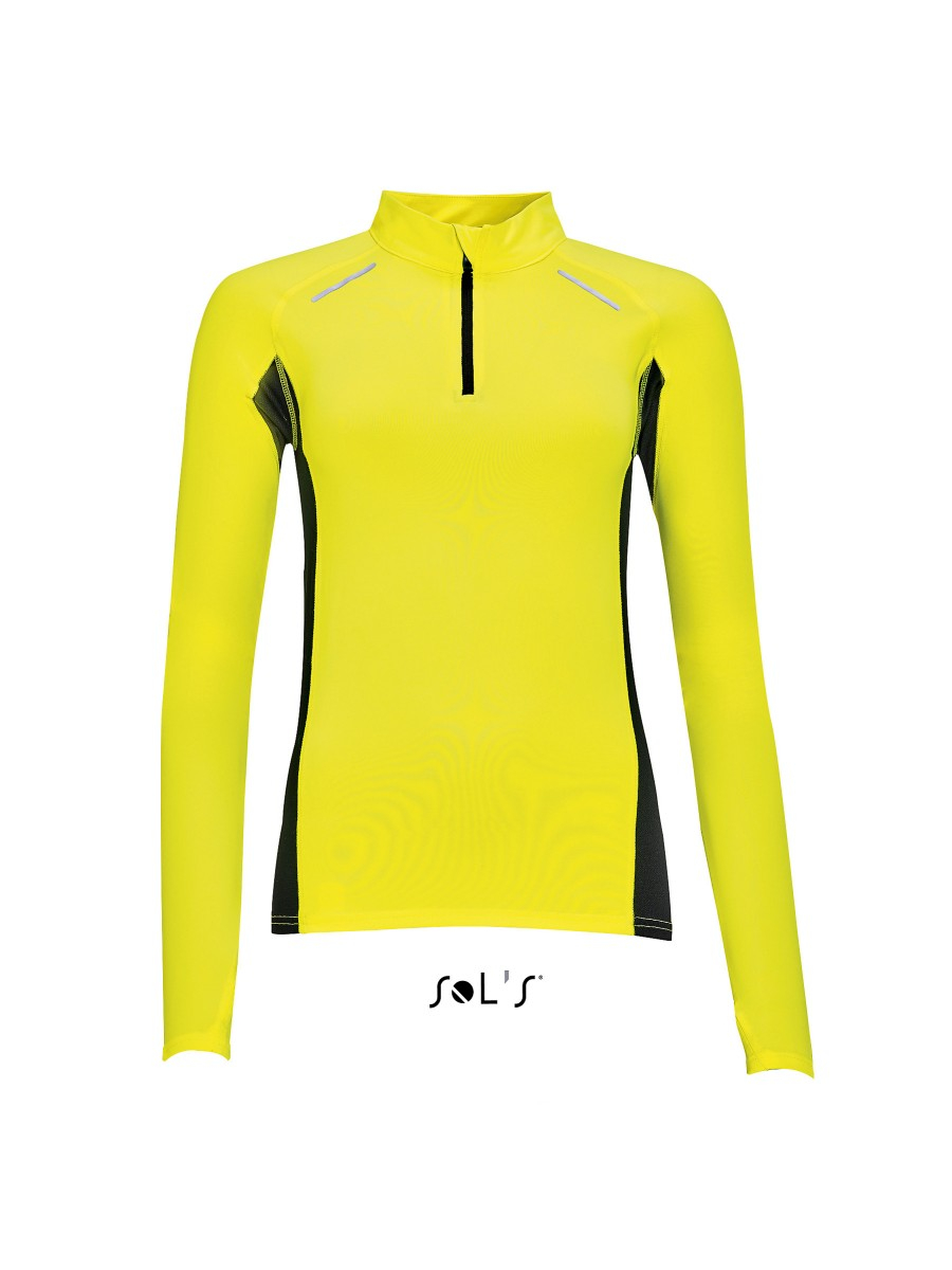Sols T Shirt Running Manches Longues Femme 01417 Jaune Fluo