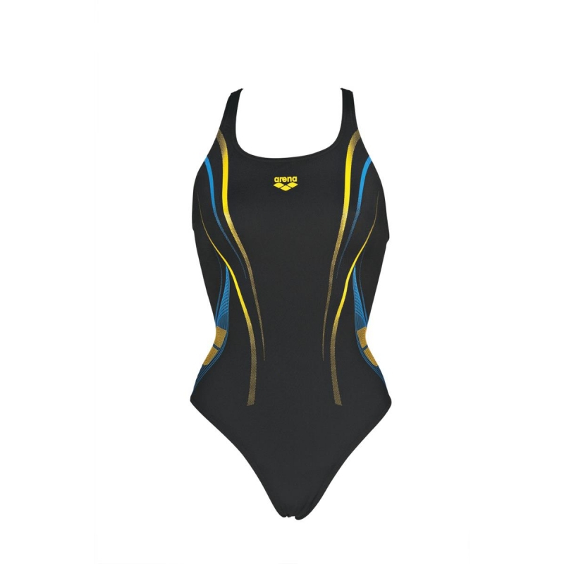 Arena One Poseidon One Piece Black Lily Yellow Maillot Natation Femme 1 Pièce