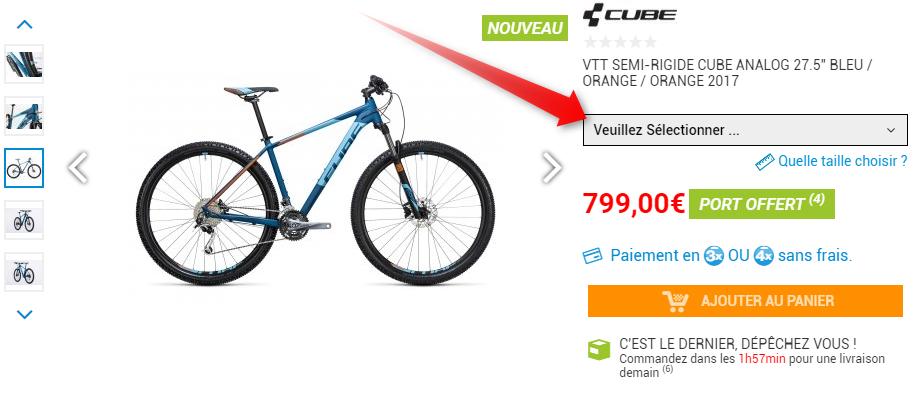 selecteur de taille vélo
