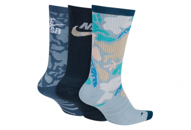 Nike SB Pack of 3 Pairs of Mid-High Socks Everyday Max Lightweight Multicolor Black / Blue / White