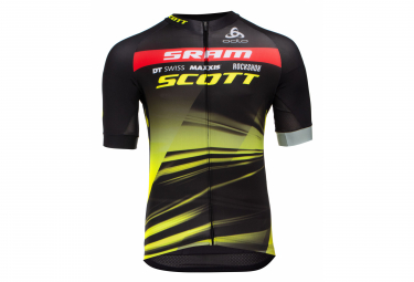 Odlo Performance Sram Racing Team Short Sleeve Jersey Black Yellow