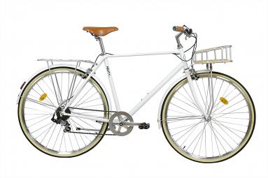 Image of Velo de ville fabricbike classic 28 blanc mat panier 7v 53 cm 166 182 cm