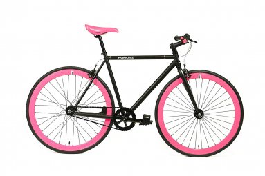 Vélo Fixie FabricBike Original 28 , Fixed Gear, Hi-Ten Acier, Noir et Fuchsia