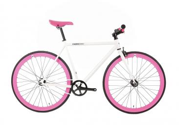 Vélo Fixie FabricBike Original 28 , Fixed Gear, Hi-Ten Acier, White et Fuchsia