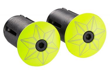 Embout de cintre Supacaz Star Plugz Powder coated Neon Jaune