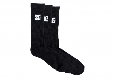DC Shoes Crew Socks 3PK Black (Pack of 3 Pairs)