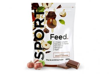 Sachet 4 repas en poudre Sport Feed. Chocolat Noisette 680g avec Shaker 1L Offert