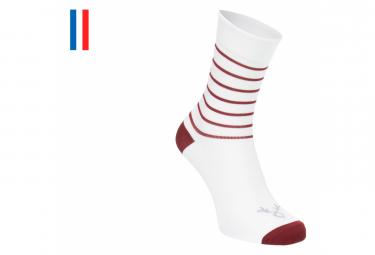 Paar LeBram Ventoux Socken Weiß / Bordeaux