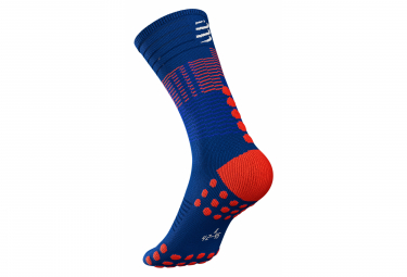 Calcetines Compressport Socks Mid - Bleu / Rouge
