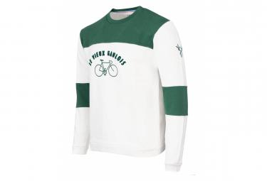 Sweatshirt LeBram & Sports d'Époque Le Vieux Gaulois Blanc/Vert Coupe Droite