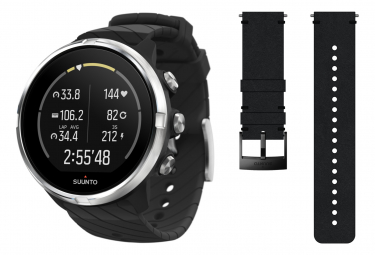 Suunto 9 Black GPS Watch + Schwarzes Lederband