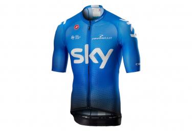Maillot Manches Courtes Castelli Climbers 3.0 FZ Sky Bleu