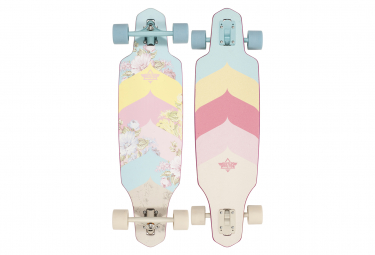 Longboard Complet Dusters WAKE BLOOM 34 BLUE OFF WHITE