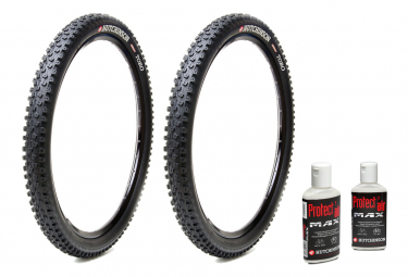 Lot de 2 Pneus VTT Hutchinson Toro 29'' Tubeless Ready Souple Race Ripost XC + 2 Préventifs Protect'air